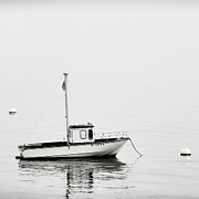 Moored Photos - At Anchor Bar Harbor Maine Black and White Square by Carol Leigh