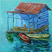 Shed Painting Prints - At Boat House Print by Xueling Zou