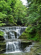 Buttermilk Falls Prints - At Buttermilk Falls Print by Anthony Thomas