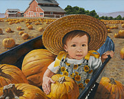 Pumpkins Paintings - At Faulkner Farm by Karen Yee