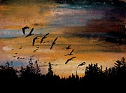 Canadian Geese Pastels - At Last Light by R Kyllo