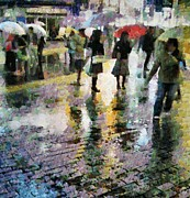 Pavement Digital Art Prints - At last spring rain Print by Gun Legler