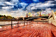 Moscow Paintings - At Moscow river painting by Magomed Magomedagaev