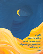 Ginny Framed Prints - At Night With Rumi and the Moon Framed Print by Ginny Gaura
