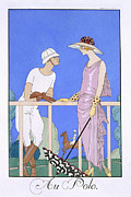 Polo Paintings - At Polo by Georges Barbier