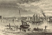 New Jersey Drawings - At Red Bank New Jersey 1872 Engraving by Granville Perkins by Antique Engravings