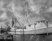 Shrimp Boat Prints - At Rest in the Harbor Print by Betsy A Cutler East Coast Barrier Islands