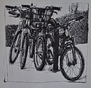 Bicycle Drawings - At Rosa Parks Circle by Paul VerBurg