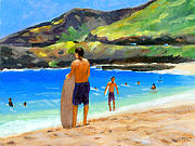 Oahu Painting Framed Prints - At Sandy Beach Framed Print by Douglas Simonson