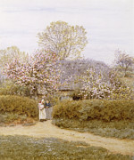 Water Color Artist Prints - At School Green Isle of Wight Print by Helen Allingham