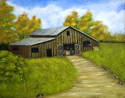 Old Barn Paintings - At The Barn by Barbara J Blaisdell