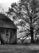 Southern Indiana Autumn Prints - At the Barn in BW Print by Julie Dant
