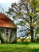 Old Barns Metal Prints - At the Barn Metal Print by Julie Dant