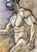 Muscle Mixed Media Prints - At the Beach 5 Print by Chris  Lopez