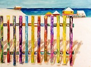 Abstract Beach Landscape Prints - At The Beach Print by Frances Marino