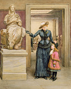 Pleated Skirt Painting Posters - At the British Museum Poster by George Goodwin Kilburne
