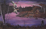Crossbill Painting Originals - At The Cabin by Rudolph Bajak