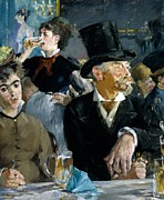 Bar Decor Posters - At the Cafe Concert Poster by Edouard Manet
