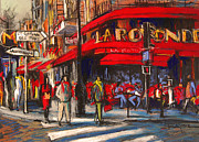 Cities Pastels Prints - At The Cafe De La Rotonde Paris Print by EMONA Art