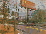 Traffic Pastels Prints - At The Corner Print by Donald Maier