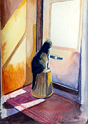 British Shorthair Art - At the Door by Katherine Miller