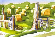 Water Colours Originals - At the Farm Baling Hay II by Kip DeVore