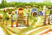 Water Colour Painting Originals - At the Farm Baling Hay by Kip DeVore