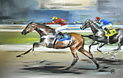 Horse Racing Paintings - At The Finish Line by Diana Rabinovich