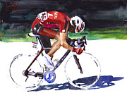 Tour De France Paintings - At the Front by Shirley  Peters