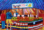 Urban Scene Drawings Framed Prints - At The Fruit Market Marche Jean Talon Montreal Urban Scenes Carole Spandau Framed Print by Carole Spandau