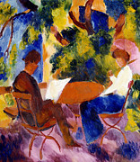 Garden Tapestries Textiles Posters - At The Garden Table Poster by August Macke