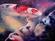 Koi Painting Originals - At The Gate by Robert Hooper