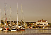 Sail Boats Posters - At the Harbor - Marthas Vineyard Poster by Kim Hojnacki