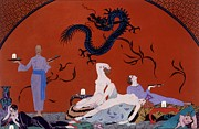 Wine Woman  Paintings - At the House of Pasotz by Georges Barbier