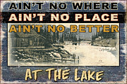Jon Q Wright Framed Prints - At The Lake Sign Framed Print by JQ Licensing