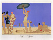 Sun Hat Posters - At the Lido Poster by Georges Barbier