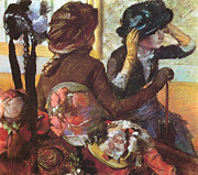 Hat Pastels Posters - At the Milliners  Poster by Edgar Degas