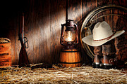 Cowboy Gear Prints - At the Old Ranch Print by Olivier Le Queinec