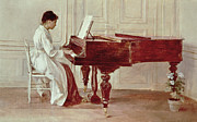 Playing Music Framed Prints - At the Piano Framed Print by Theodore Robinson