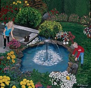 Formal Flower Paintings - At the Pond by Sharon Duguay