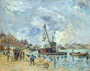 Horse And Carriage Posters - At the Quay de Bercy in Paris Poster by Jean Baptiste Armand Guillaumin