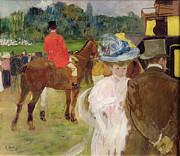 Spectators Paintings - At the Races at Auteuil by Leon Georges Carre