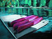 Canoe Pastels Metal Prints - At the Ready Metal Print by Synnove Pettersen