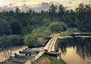 Reflection Paintings - At the Shallow by Isaak Ilyich Levitan
