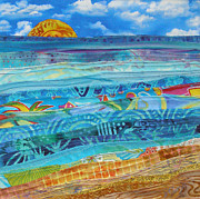 Waves. Ocean Tapestries - Textiles Prints - At the Waters Edge Print by Susan Rienzo