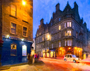 Winter Scenes Digital Art Prints - At The Worlds End In Edinburgh Print by Mark E Tisdale