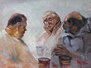 Talking Painting Framed Prints - At Tim Hortons Framed Print by Ylli Haruni