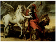 Horse And Riders Posters - Athena and Pegasus Poster by Theodor Van Thulden
