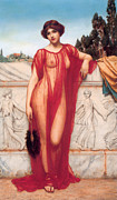 Negligee Framed Prints - Athenais Framed Print by John William Godward