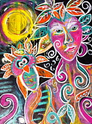 Goddess Print Prints - Athenas Autumn Moon Print by Kim Heil